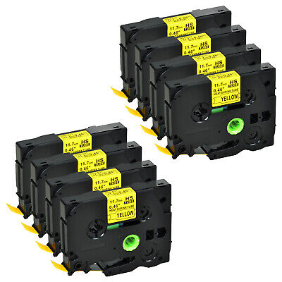 """8 PK HSe631 Black on Yellow Heat Shrink Tube Tape for Brother H300 0.47""""x4.92ft"""