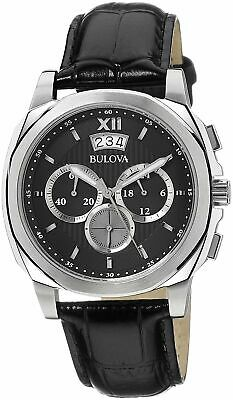 New Men's Bulova 96b218 Chronograph Black Leather Strap Watch