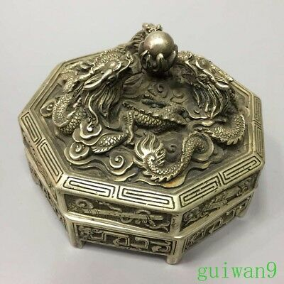 Collection Old Miao Silver Carve Myth Dragon Play Bead Ancient Tibet Jewelry Box