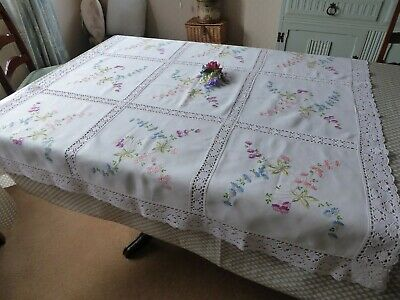 Vintage Hand Embroidered Tablecloth= Beautiful Spring Flowers