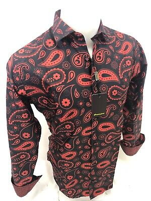 Mens PREMIERE PAISLEY Long Sleeve BUTTON UP Dress Shirt RED BLACK MULTICOLOR 303