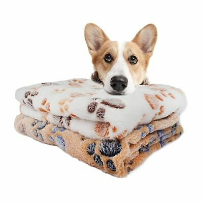 Soft Pet Blanket Cat Dog Warm Bed Paw Print Mat Puppy Coral Fleece Cushion Sofa