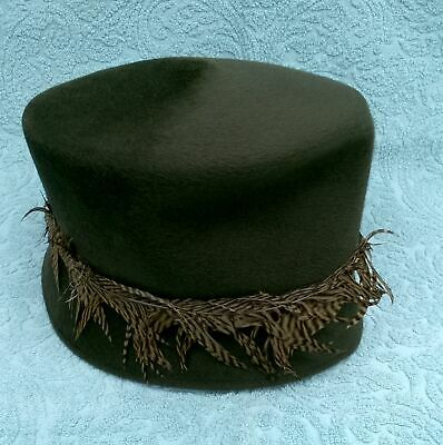 Ladies Velour Feathered Hat Philip Treacy London Brown  583 53021804a6d7