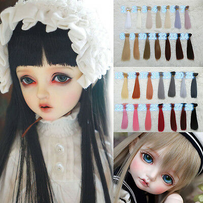 DIY  BJD SD Doll Wig Straight HighTemperature Wire Hair Making Repair-15x100cm