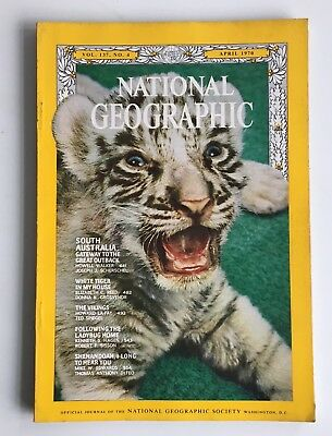 Vintage 1970s National Geographic Magazine South Australia White Tiger Vikings