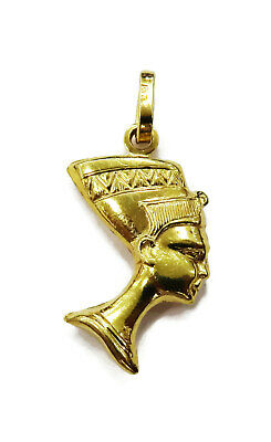 18K Yellow Gold Egyptian Queen Nefertiti Charm Pendant Necklace ~ 1.6g
