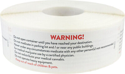 Medical Cannabis Marijuana Warning Stickers, 1 x 3 Inches, 500 Labels on a Roll