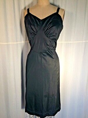 0920eafdc28c Vintage 60's slip dress Black pinup Nylon knit sissy XL ❤ Goth sexy  Burlesque