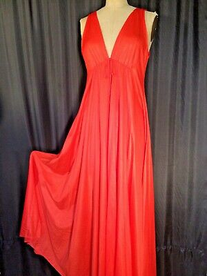 70's Red vintage Negligee nightgown S sexy Sissy pinup ❤️ Sweep butterfield 8
