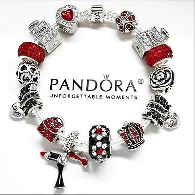 Authentic Pandora Silver Charm Bracelet LOVE TO SHOP GIRLS NIGHT European Beads.