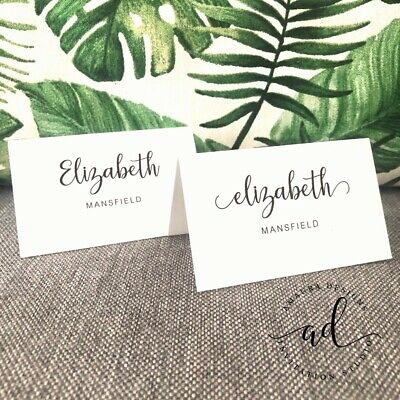 Wedding Name Cards.Custom Wedding Name Place Cards Printed Placecards Events Engagement Baby White