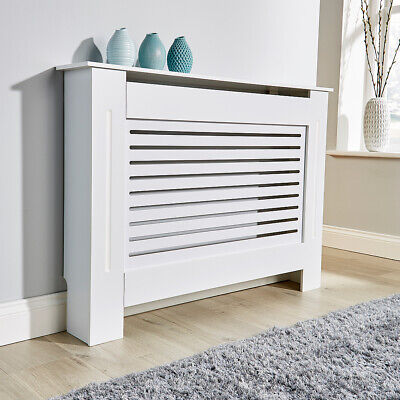 Medium White Radiator Cover Wooden MDF Wall Cabinet Shelf Slatted Grill York