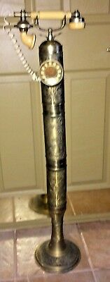 Vintage Solid Brass Floor Standing Column Telephone Rotary Dial Works Great MCM