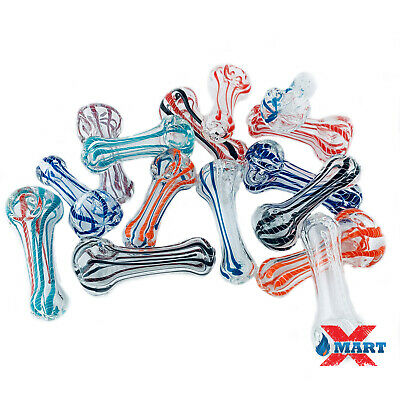 3 INCH Assorted Latticino TOBACCO Smoking Pipe Herb Bowl Glass Hand Pipes (GP-5)