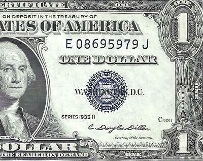 1935H $1 BLUE Seal SILVER Certificate! CHOICE AU! Old US Paper Money!