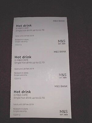 Marks And Spencer's M&S Hot Drinks Vouchers x3 Valid Until 28th Feb 2019