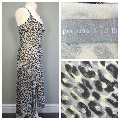 eaa19d81aced M&S PER UNA Strappy Dress Size 10 Animal Print Silver Party Long Womens F633