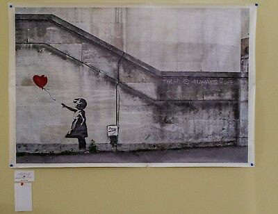 """BANKSY CANVAS (29"""" x 44"""")  """"GIRL WITH BALLOON""""  PRINT from Southbank 2004"""
