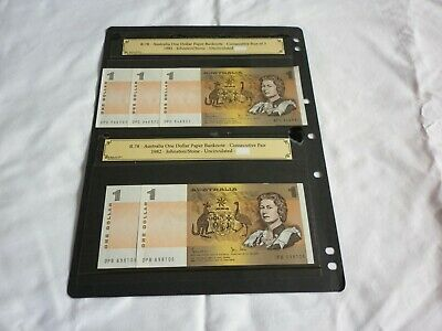 Aust $1 Dollar Notes X5 Last Cons Pair. And Run Of 3 Cons Numbers.As New.