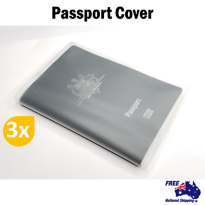 3x Passport Cover Transparent Clear Protector Travel Holder Case Organiser Carry