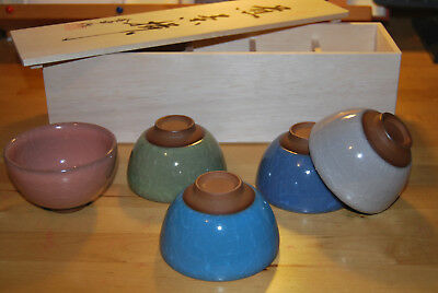 Japanese tea bowl set, x5 in wood box, traditional craftsmanship, BRAND NEW