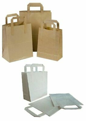 Brown or White Kraft Paper SOS Flat Handle Party Paper Bags Takeaway Loot Gifts