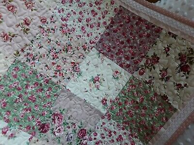"Handmade Cot Quilt - ""Isabella"" - Shabby chic - florals - lace trim"