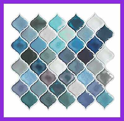 Teal Arabesque Peel Stick Tile For Kitchen Backsplash On Tiles Decorative Wall