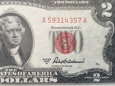 Wow 1953 A $2 TWO DOLLAR BILL RED SEAL ,UNCIRCULATED