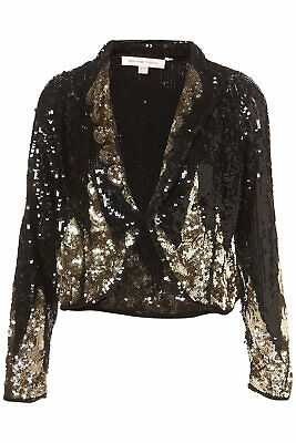 BNWT KATE MOSS TOPSHOP Black Gold Sequin Stripe Boxy Trophy Blazer Jacket 8 36