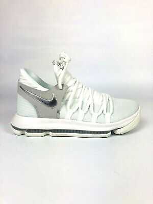 9e3746d1972 Nike Zoom KD 10 GS Basketball Shoes White Silver Kevin Durant 918365-100 SZ  7y