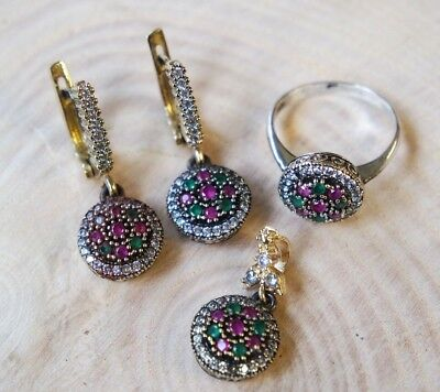 Turkish Handmade Jewelry Sterling Silver 925 Ruby Ring Earring Set 7 8 9