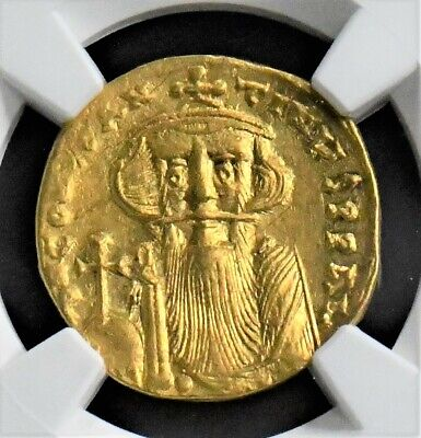 Byzantine Gold Solidus Of Constans Ii,641-668 Ad, Ngc Grade Ch Au