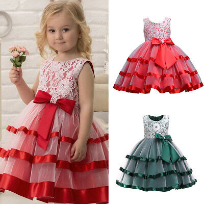 Child Kids Girl Lace Bow Princess Wedding Party Formal Tutu Dress Clothes 2-8Y 9