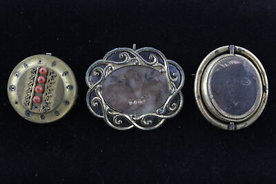 3 x Antique Victorian MOURNING BROOCHES inc. Pallet Worked Hair, Gold Plated