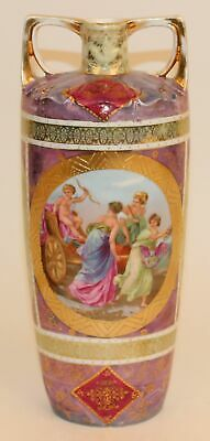 """E.s. Germany Prov Saxe 11"""" Vase Cupid In Chariot W/ladies"""