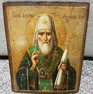 """Very nice and rare scene 19 c. Russian Icon ikonen """"Alexey Metropolit"""", auction!"""