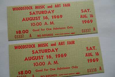 WOODSTOCK TICKETS 1969 ORIGINAL The Who,The Airplane,Janis,The Dead,CCR,Santana