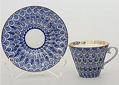 """Lomonosov from USSR tea cup, saucer set""""Forget Me Not"""" pattern RARE"""