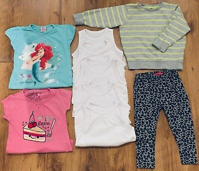 Mothercare Etc Girls Clothes Bundle 2-3 Years Including 5 X White Vests