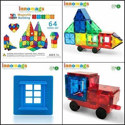 Innomags Magnet Tiles 64 Piece Magnetic Building Blocks Tile Set, Clear 3D Magne