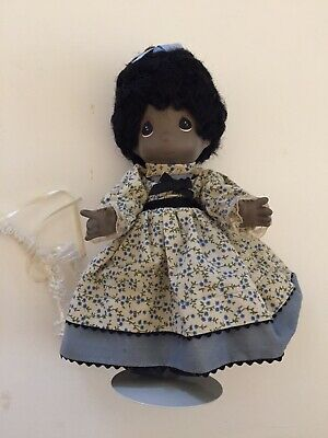 "RARE 9 1/2"" Movable Porcelain Precious Moments Black Doll With Stand EUC"