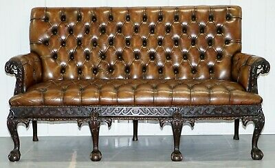 19Th Century Hand Carved Hawk Claw & Ball Feet Chesterfield Sofa Brown Leather