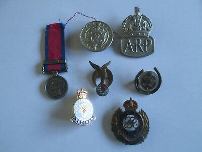 job lot of British military badges pins, incl. WWII? Tank Corps, ARP Kings Badge
