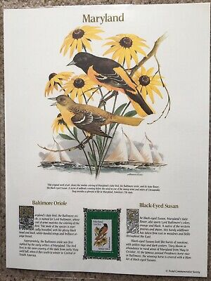 State Bird Flower Stamp Panel MARYLAND oriole black-eyed susan