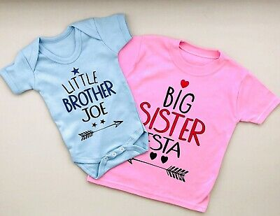 PERSONALISED Baby clothing LITTLE SISTER/LITTLE BROTHER & BIG SISTER/BIG BROTHER