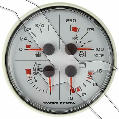 Volvo Penta EVC 4 Function White Instrument Gauge Trim Volt Fuel Temp 3885215