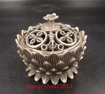 """3.47"""" Collectible Handmade Carving Statue Copper Silver Lotus Incense Burner"""