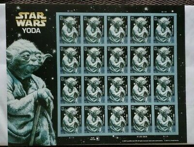 Star Wars Yoda Stamps Sheet of 20 - 41 cent US Postage Stamps Unused 2007 #4205