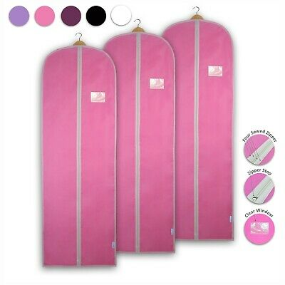 3x Dress Covers Garment Bags Clothes Gown Breathable Storage Travel Carriers